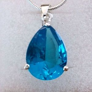 Jewelry - BLUE TOPAZ MEDALLION ~ 925 STAMPED STERLING SILVER